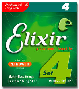Elixir Nanoweb Medium, .045-.105, bassonkielet - Basson kielet - 101171 - 1